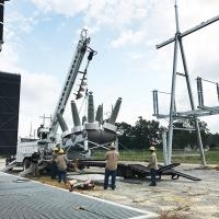 In April 2017, substation crews set the last of three breakers.