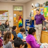 Jonathan Sergeant sharing energy saving tips at Oakwood School