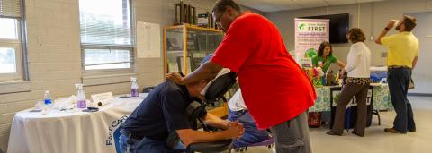 Employee getting a chair massage.